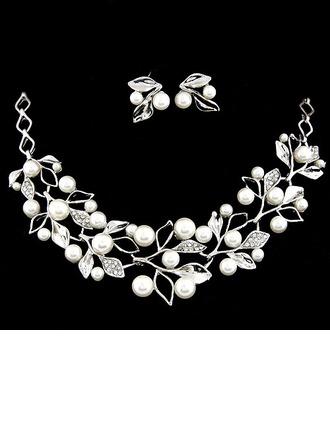 Hojas en forma Aleación Diamantes de imitación Perla De mujer Sistemas de la joyería