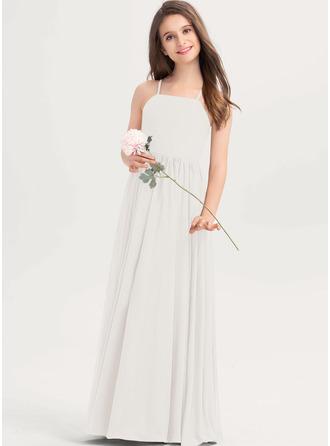 A-Linie Rechteckiger Ausschnitt Bodenlang Chiffon Kleider für junge Brautjungfern mit Schleife(n)
