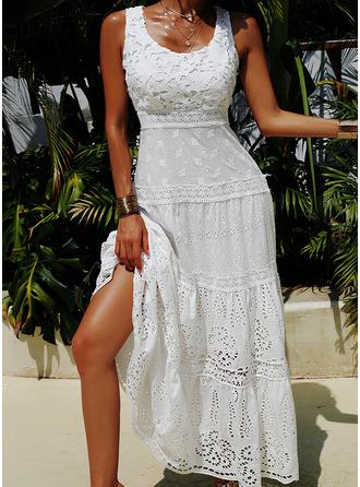 Spets Solid A-linjeklänning Ärmlös Maxi Elegant skater Modeklänningar