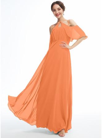 A-Line Halter Floor-Length Bridesmaid Dress With Ruffle