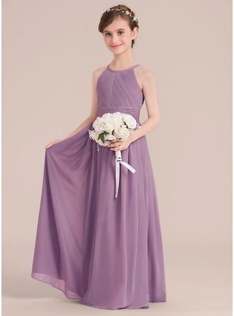 A-Line Floor-length - Chiffon Sleeveless Scoop Neck