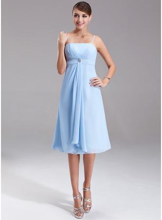 Empire Knee-Length Chiffon Bridesmaid Dress With Crystal Brooch Cascading Ruffles