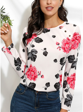 Floral Print Round Neck Long Sleeves Casual