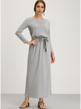 Solid Sheath Long Sleeves Maxi Casual Dresses