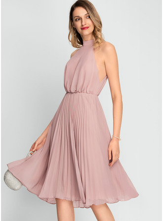High Neck Dusty Rose Chiffon Dresses
