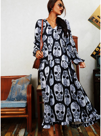 Print Shift Long Sleeves Maxi Casual Dresses