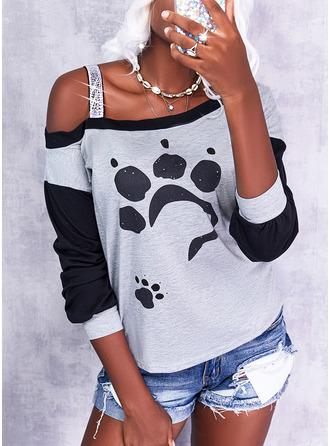 Color Block Print Animal One Shoulder Long Sleeves Casual
