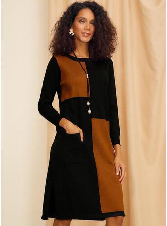 Color Block Shiftklänningar Långa ärmar Midi Fritids Tunika Modeklänningar