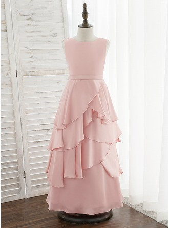 Corte A Longos Vestidos de Menina das Flores - Chiffon Acetinado Sem magas Decote redondo com Pregueado