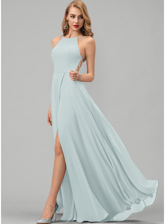 A-Line Scoop Neck Floor-Length Chiffon Bridesmaid Dress With Split Front