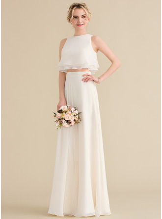 A-Line/Princess Scoop Neck Floor-Length Chiffon Prom Dresses With Cascading Ruffles