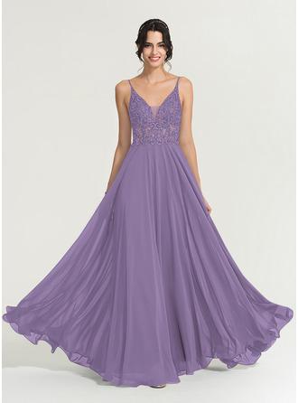 A-Line V-neck Floor-Length Chiffon Evening Dress With Beading