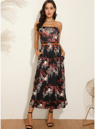 Maxi Strapless Polyester Print Sleeveless Fashion Dresses
