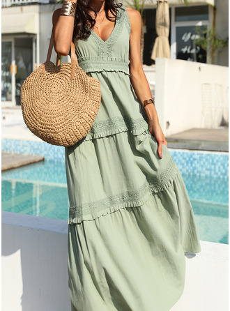 Solid A-line Sleeveless Maxi Casual Vacation Type Dresses