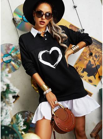 Color Block Print Shiftklänningar Långa ärmar Mini Fritids Modeklänningar