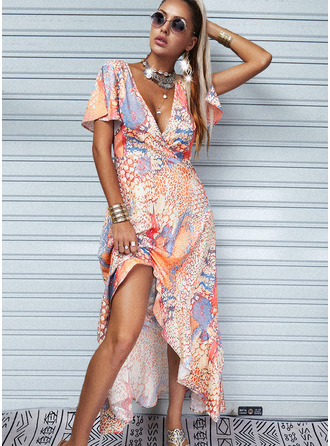 Print A-line Short Sleeves Asymmetrical Casual Vacation Skater Dresses