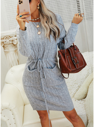 Solid Cable-knit Long Sleeves Casual Long Tight Sweater Dress Dresses