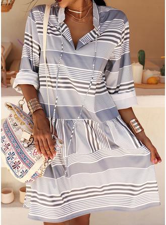 Print Striped Shift Long Sleeves Midi Casual Tunic Dresses