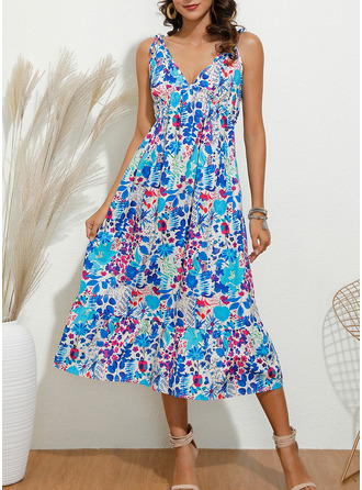 Floral Print A-line Sleeveless Maxi Boho Casual Sexy Vacation Skater Type Dresses