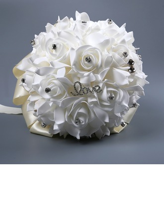 Hand-tied Satin Bridal Bouquets/Bridesmaid Bouquets (Sold in a single piece) -