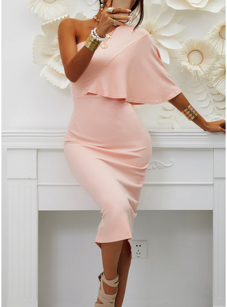 Solid Bodycon 1/2 Sleeves Midi Party Sexy Pencil Dresses (294254189)