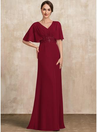 Трапеция V-образный Длина до пола шифон Платье Для Матери Невесты с Кружева блестки