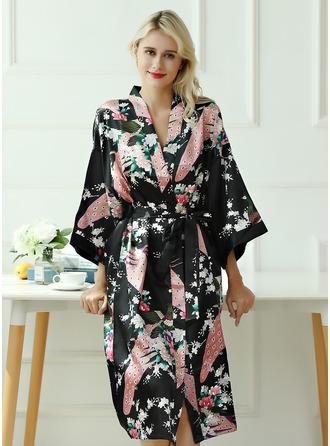 Bride Bridesmaid charmeuse With Tea-Length Kimono Robes