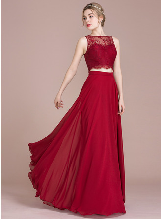 A-Line/Princess Scoop Neck Floor-Length Prom Dress