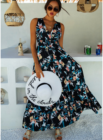 Floral Print A-line Sleeveless Maxi Casual Vacation Skater Dresses