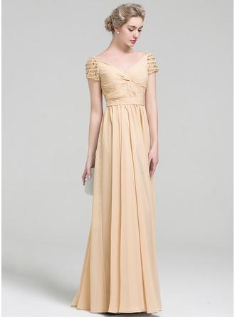 A-Line/Princess V-neck Floor-Length Chiffon Evening Dress With Ruffle Beading Sequins