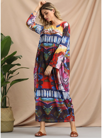 Geometric Print Print Shift 3/4 Sleeves Maxi Boho Casual Dresses