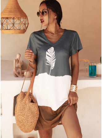 Estampado Vestidos soltos Manga Curta Mini Casual camiseta Vestidos na Moda