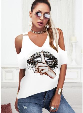 Leopard Print Cold Shoulder Short Sleeves Casual