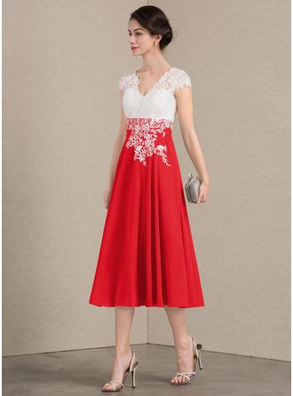A-Linie V-Ausschnitt Wadenlang Chiffon Spitze Kleid für die Brautmutter