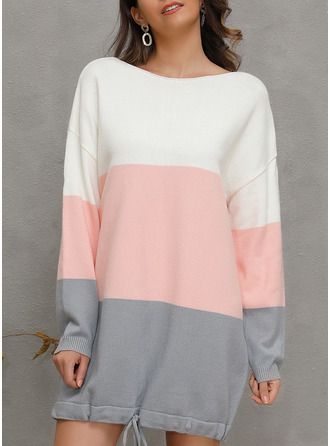 Color Block Striped Shift Long Sleeves Mini Casual Sweater Dresses