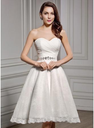 A-Line/Princess Sweetheart Knee-Length Chiffon Lace Wedding Dress With Ruffle Beading Sequins