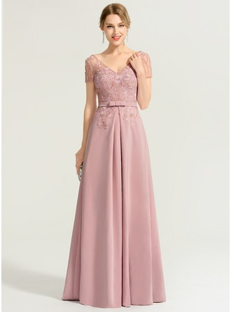 A-Line/Princess V-neck Floor-Length Stretch Crepe Evening Dress With Beading