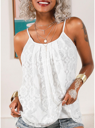 Lace Solid Spaghetti Straps Sleeveless Casual Tank Tops