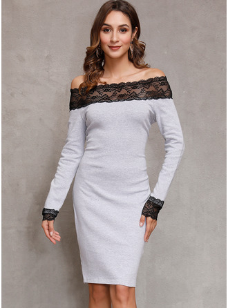 Above Knee Off the Shoulder Polyester Lace/Solid Long Sleeves Fashion Dresses