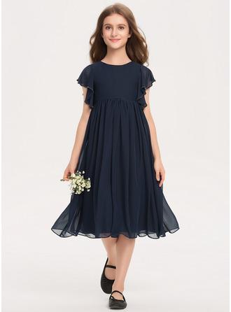 A-Linie U-Ausschnitt Knielang Chiffon Kleid für junge Brautjungfern mit Perlstickerei