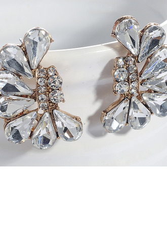 Ladies' Classic Alloy Crystal Earrings For Bride