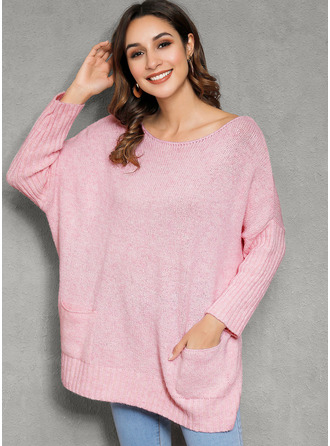 Round Neck Casual Solid Pocket Sweaters