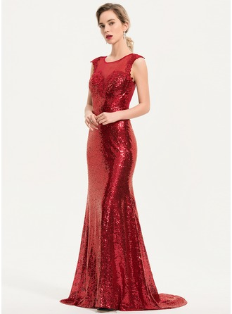 Trumpet/Mermaid Scoop Neck Sweep Train Sequined Evening Dress With Lace