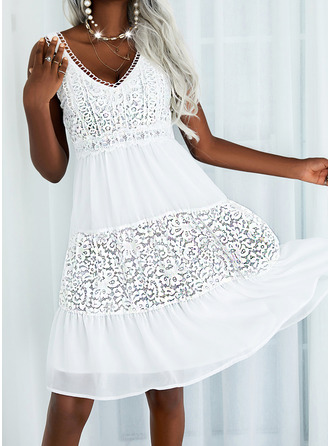 Solid A-line Sleeveless Midi Casual Vacation Skater Dresses