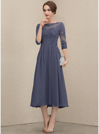 A-line Round Neck 1/2 Sleeves Midi Elegant Dresses