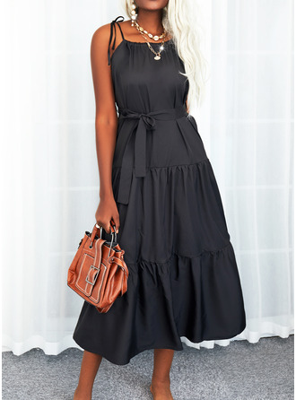 Solid Backless A-line Sleeveless Maxi Little Black Casual Vacation Skater Type Dresses