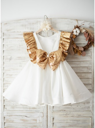 A-Line/Princess Knee-length Flower Girl Dress - Satin/Sequined Sleeveless Scoop Neck With Bow(s)/V Back