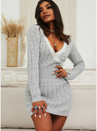 Solid Cable-knit Long Sleeves Casual Long Sweater Dress Dresses