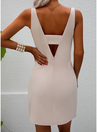 Solid Sheath Sleeveless Mini Party Sexy Dresses