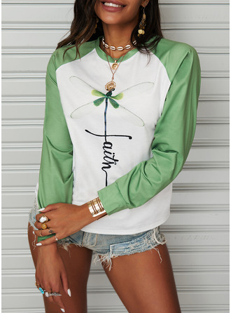 Animal Print Color Block Figure Round Neck Long Sleeves Sweatshirt